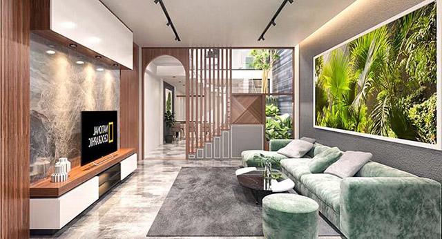 Thiết kế nội thất phòng khách nhà phố 3 tầng 4x16m