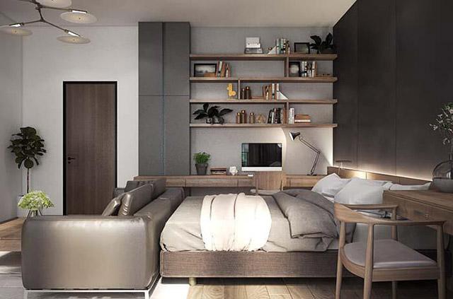 Thiết kế phòng ngủ vợ chồng nhà phố 3 tầng 4x16m 2