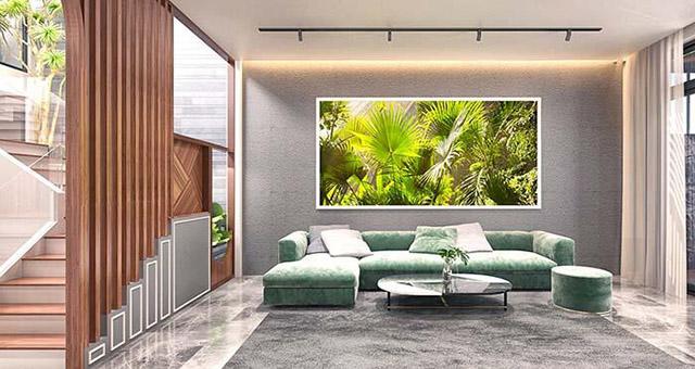 Thiết kế nội thất phòng khách nhà phố 3 tầng 4x16m 2