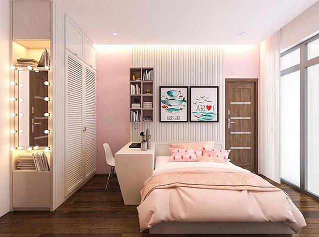 Thiết kế phòng ngủ con gái nhà phố 3 tầng 4x16m