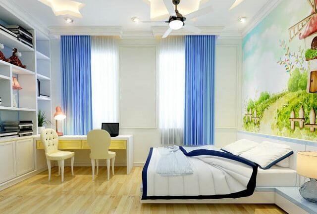 Cùng giống như các phòng khác, cửa sổ lớn sẽ giúp căn phòng sáng và thoáng mát hơn nhờ nguồn ánh sáng và nguồn gió tự nhiên.