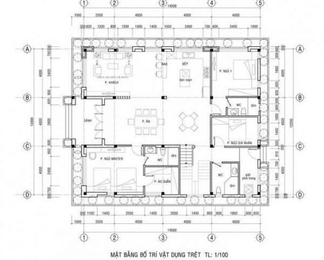 Mẫu biệt thự 2 tầng mặt tiền 12m-4