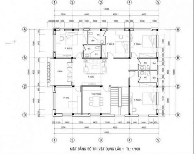 Mẫu biệt thự 2 tầng mặt tiền 12m-5