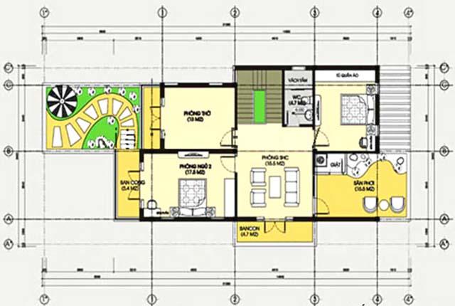 Thiết kế biệt thự 2 tầng mái lệch-3