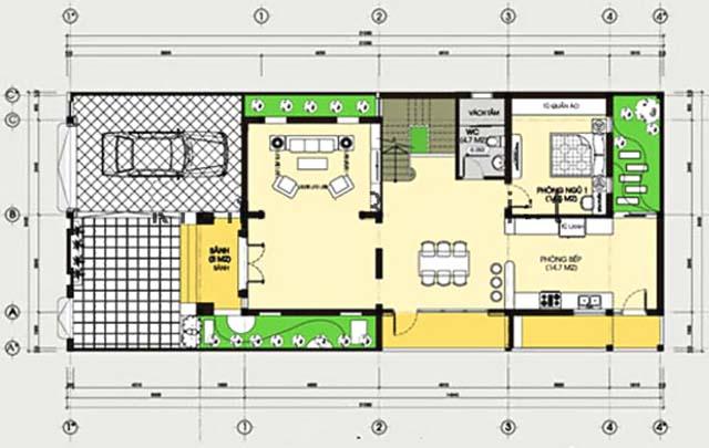 Thiết kế biệt thự 3 tầng mái lệch-2