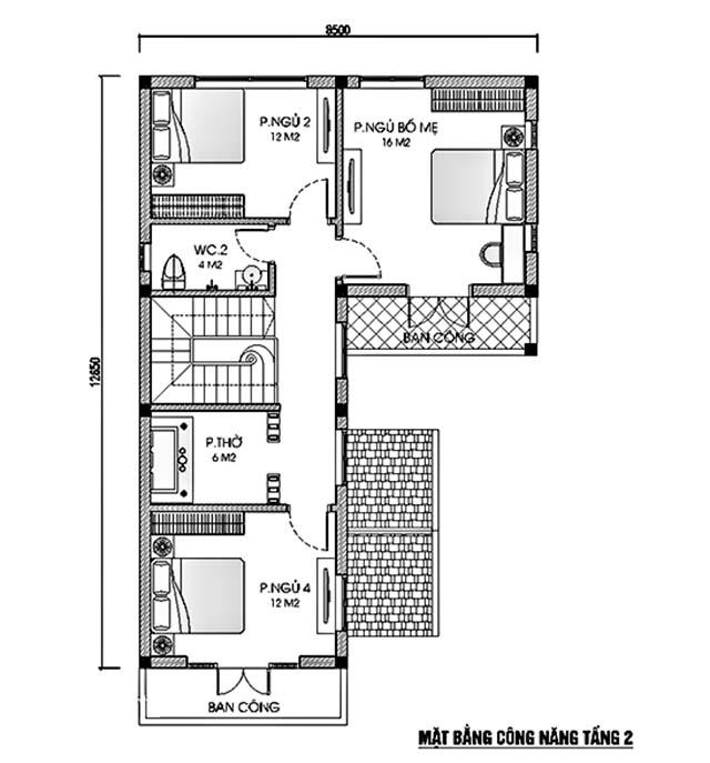 Thiết kế biệt thự hiện đại 9x13m-5