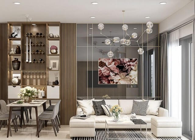 Thiết kế cho không gian phòng khách là sang trọng nhưng vẫn ấm cùng