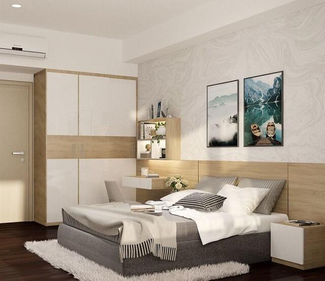 Vì diện tích phòng ngủ không quá rộng nên đồ đạc được bày trí gọn gàng với màu sắc ấm áp.