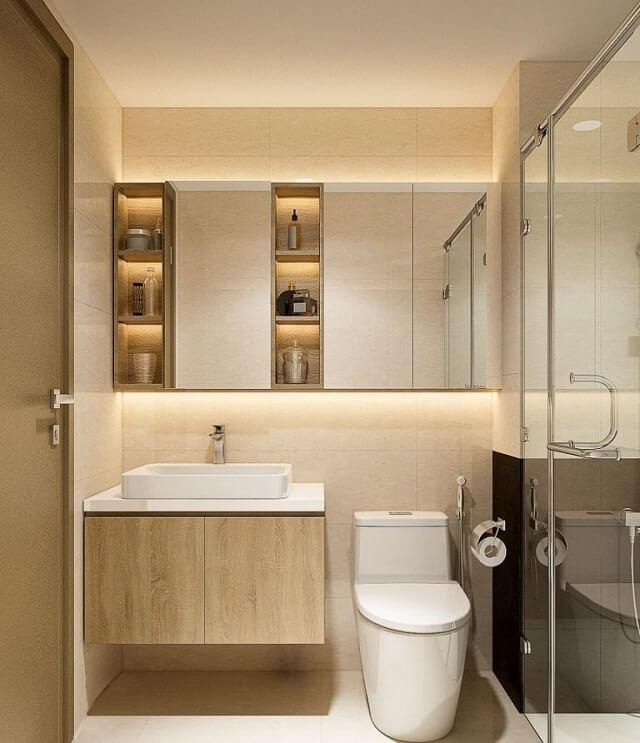 Nhà vệ sinh cũng được tiết kiệm không gian tối đa với tủ để đồ áp tường, tích hợp nhà tắm và nhà vệ sinh.