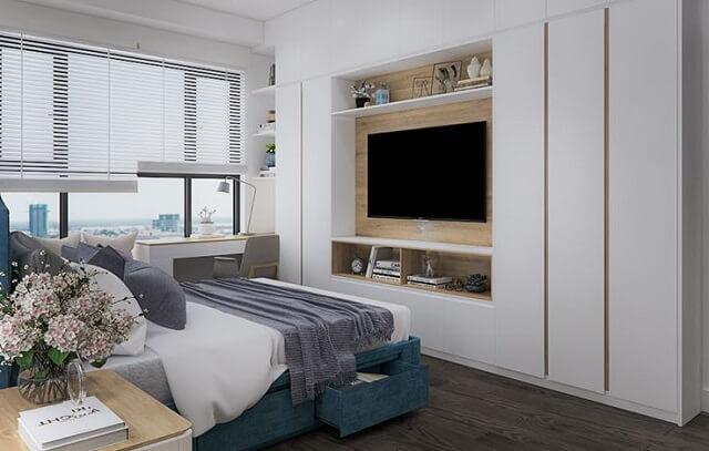 Phòng ngủ có màu sắc nhẹ nhàng, tận dụng tối đa ánh sáng tự nhiên.