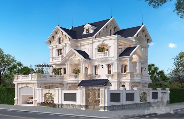 Thiết kế biệt thự 3 tầng 2 mặt tiền kiến trúc Pháp