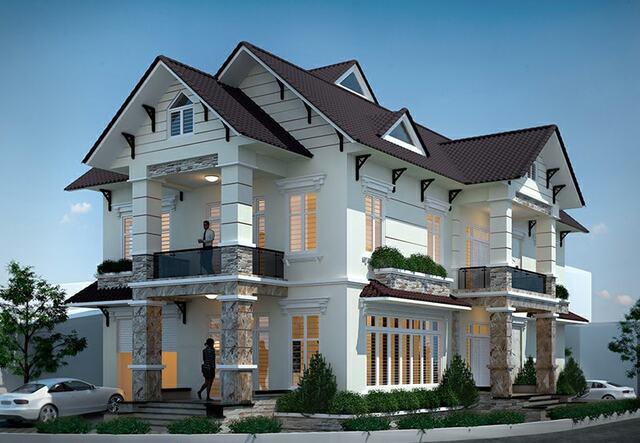 Mẫu thiết kế biệt thự 3 tầng 2 mặt tiền 4 phòng ngủ