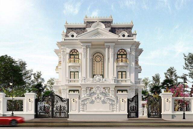 Thiết kế biệt thự 3 tầng tân cổ điển Pháp