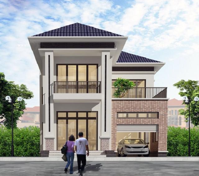 Mẫu nhà 2 tầng 6x10 mái Thái 1