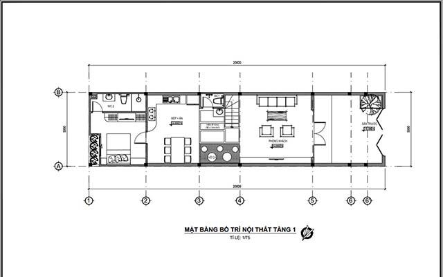 Mẫu thiết kế nhà 2 tầng đẹp 5x20m 10