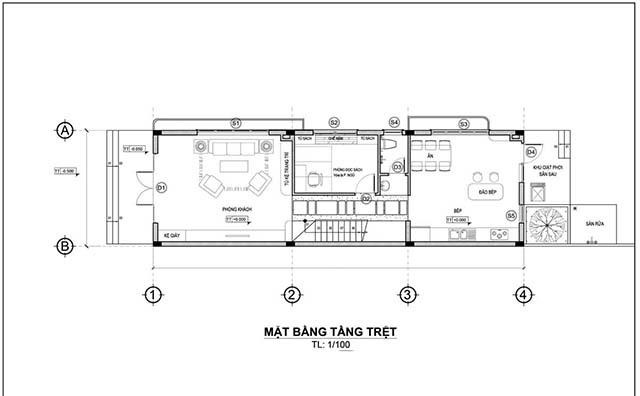 Mẫu thiết kế nhà 2 tầng đẹp 5x20m 2