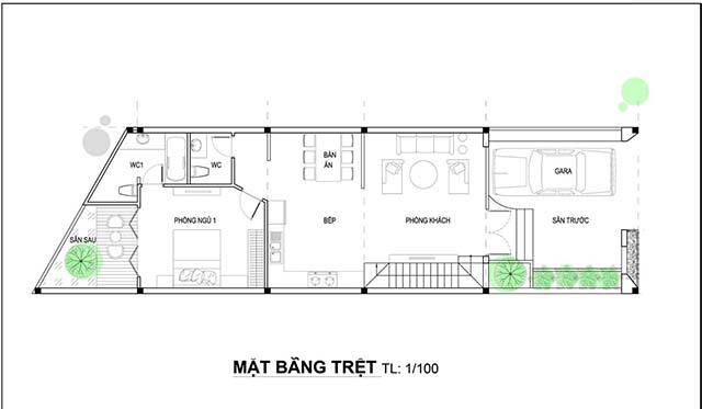 Mẫu thiết kế nhà 2 tầng đẹp 5x20m 6