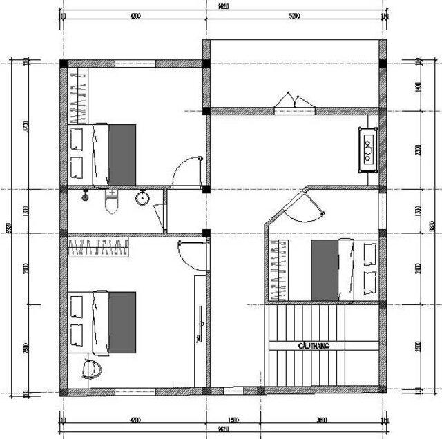 Mẫu thiết kế nhà vuông đẹp 2 tầng mái Nhật 3