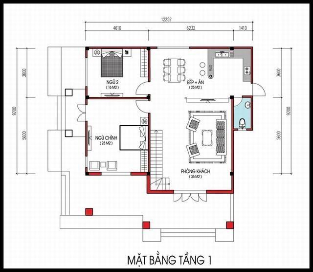 Mẫu nhà 2 tầng 10×10 mái thái đẹp 2