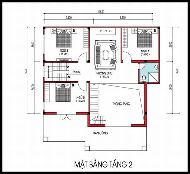 Mẫu nhà 2 tầng 10×10 mái thái đẹp 3