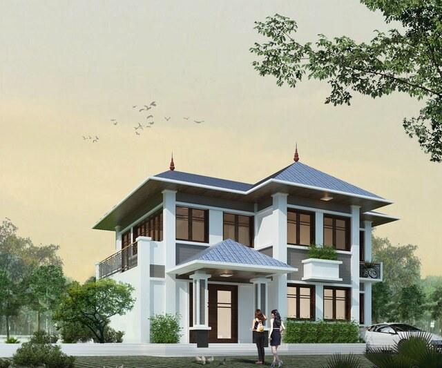 Mẫu nhà 2 tầng 10×10 mái thái đẹp