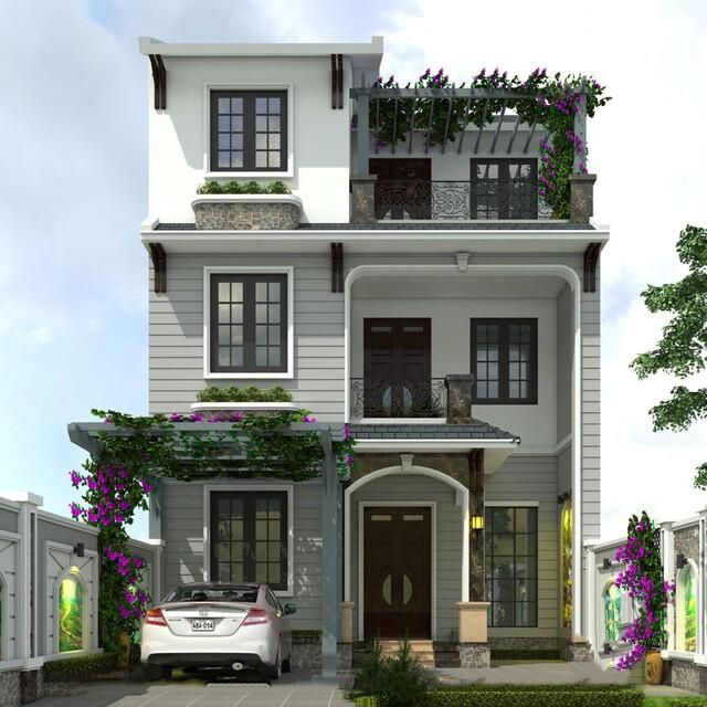 Thiết kế nhà vuông 10×10 3 tầng