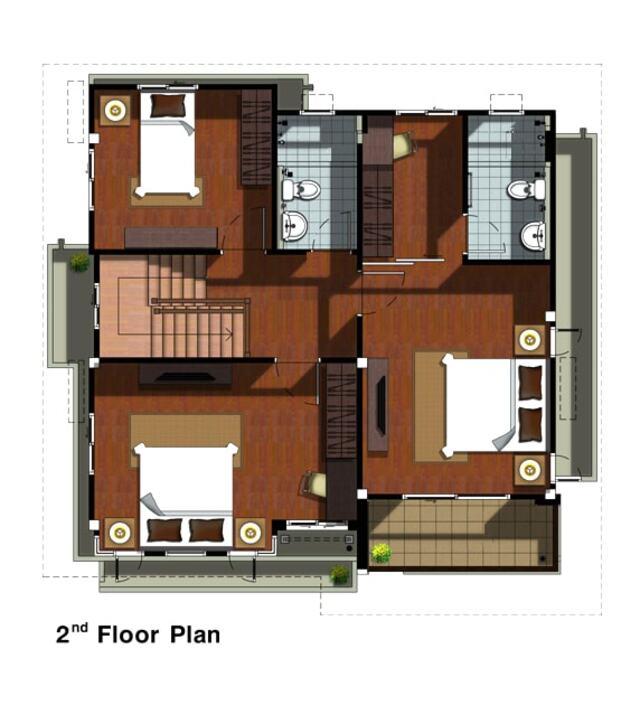 Thiết kế nhà diện tích 10×10m 2 tầng có gara-3