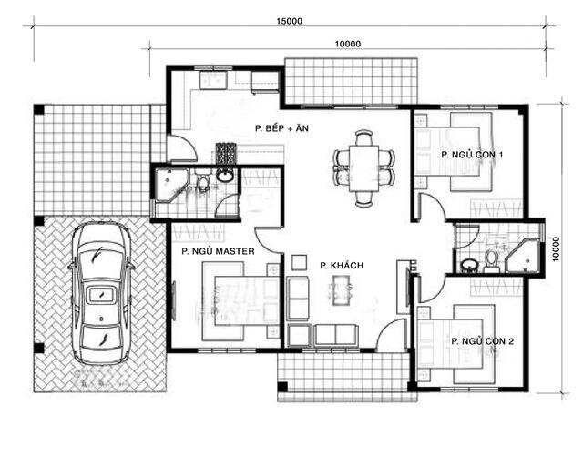 Thiết kế nhà vuông 10x10m 3 phòng ngủ-2